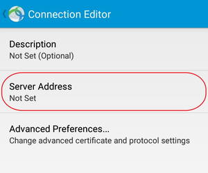 VPN Server Adress settings