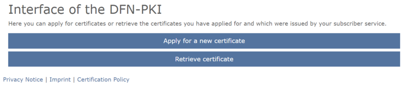 "There are now two larger buttons. To apply, click the ""Apply for a new user certificate"" button."