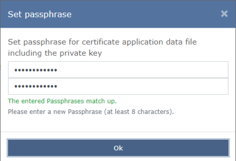 "A password for the application file must be entered and confirmed by clicking on ""Ok""."